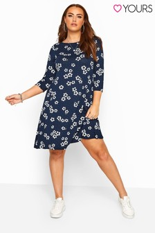 Yours Curve Dotty Floral Swing Dress