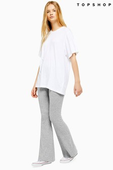 Topshop Ribbed Jersey Flare Trousers