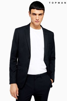Topman Textured Skinny Fit Single Breasted Suit Jacket With Notch Lapels