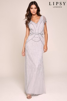 Lipsy Emma Hand Embellished Flutter Sleeve Maxi Dress