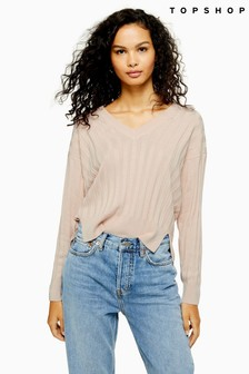 Topshop Knitted Casual Ribbed Top