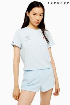 Topshop Embroidered Pillow Talk Slogan Pyjama Set