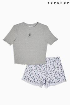 Topshop Stay Wild Slogan Embroidered Pyjama Set
