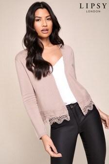 Lipsy Lace Trim Crop Cardigan