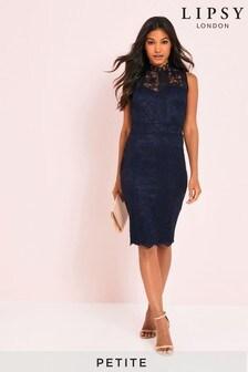 Lipsy Petite Lace High Neck Bodycon Dress