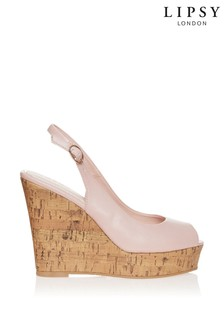 Lipsy Peeptoe-Schuhe mit Fersenriemen und Kork-Keilabsatz