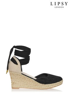 Lipsy Crochet Tie Up Espadrille Wedges