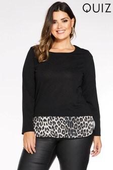 Quiz Curve Light Knit Contrast Leopard Hem Top