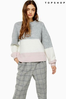 Topshop Knitted Colour Block Stripe Jumper