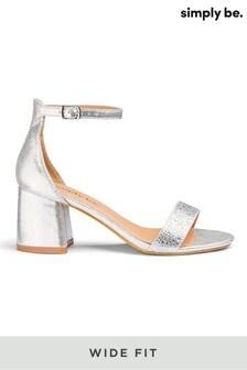 Simply Be Wide Fit Diamanté Block Heel Sandal