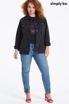 ז'קט ג'ינס בגזרה רחבהשל Simply Be