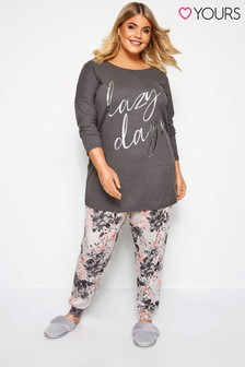 Yours Curve 3/4 Sleeves Lounge Set With Placement Print