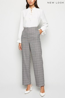 New Look Check Wide Leg Trousers