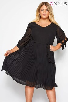 Yours Curve Pleated Chiffon Dress