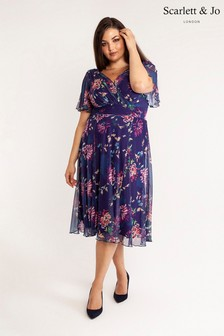 Scarlett & Jo Printed Float Sleeve Midi Dress