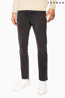 Topman Washed Stretch Slim Jeans