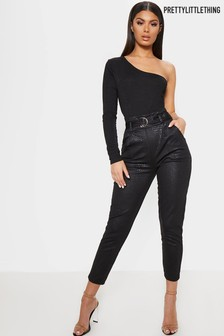 PrettyLittleThing Croc Print Belted Skinny Trousers