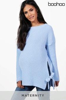 סוודר להריון של Boohoo עם קשירה בצד