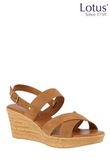 Lotus Cork Effect Wedge Sandal