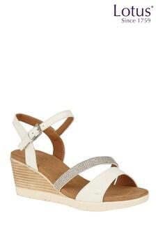 Lotus Diamanté Effect Wedge Sandals