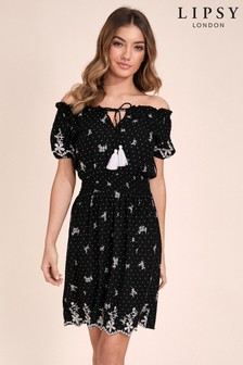 Lipsy Polka Dot Bardot Dress
