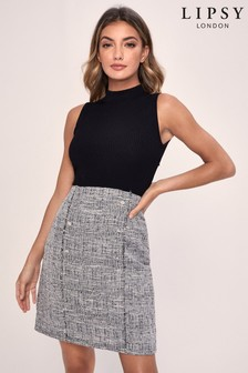 Lipsy 2-In-1 Sleeveless Knitted Boucle Skirt Dress