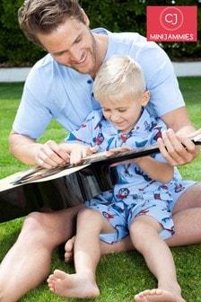 Set Minijammies Billy cu imprimeu chitară şi şort