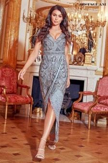 فستان ماكسي برقبة سبعة وكم قصير منSistaglam