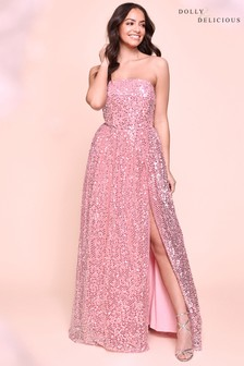 Dolly & Delicious Sequin Detail Bandeau Maxi Dress