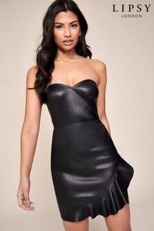 Lipsy Faux Leather Bandeau Frill Dress
