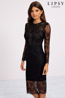 Lipsy Sleeved Mixed Lace Bodycon Midi Dress