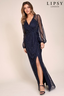 Lipsy VIP Hand Embellished Long Sleeve Maxi Dress