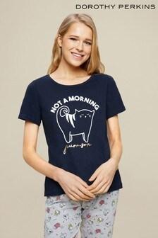 Dorothy Perkins Mornings Slogan Cat Pyjama Set