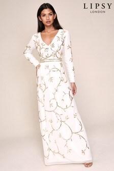 Lipsy Embellished Long Sleeve Maxi Dress
