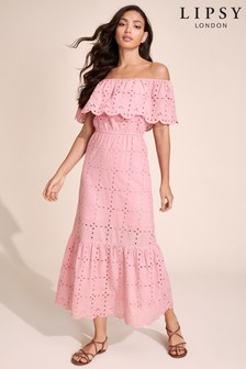 Lipsy Layered Bardot Embroidery Dress