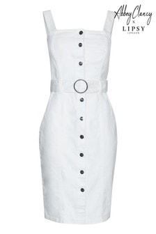 Vestido de denim ajustado con cinturón de Abbey Clancy x Lipsy