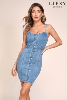 Lipsy Denim Strappy Bodycon Dress
