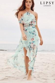 Lipsy Floral Halterneck Ruffle Dress
