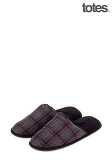 Totes皮毛襯裡羊毛方格圖案毛毛拖鞋