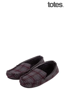 Totes Fur Lined Wool Check Mocc Slipper