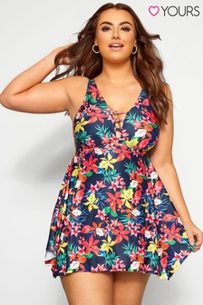Yours Curve Jungle Floral Plunge Hanky Hem Swimdress