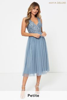 Maya Petite V neck Sleeveless Sequin Midi Dress