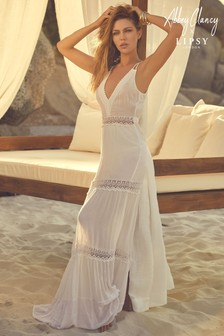Abbey Clancy x Lipsy Lace Trim Maxi Dress