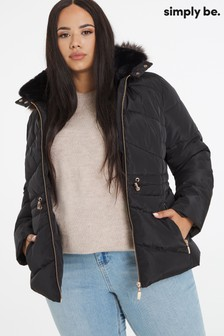 Simply Be Luxe Hooded Short Padded Coat