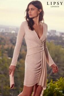 Lipsy Sparkle Drape Dress