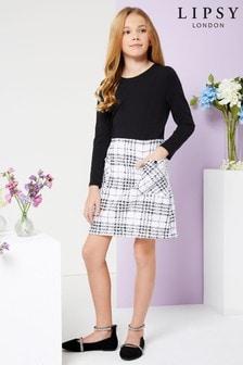 فستان2 في1 بوكليهمربعات بناتي منLipsy
