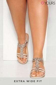 Yours Sandalen mit T-Riemen und Strassblumenverzierung, extraweite Passform