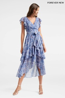 Forever New Wrap Ruffle Floral Dress