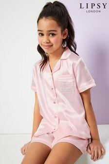 Pijama corto de satén para niña dama de honor de Lipsy