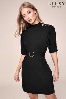 Lipsy High Neck Belted Dress